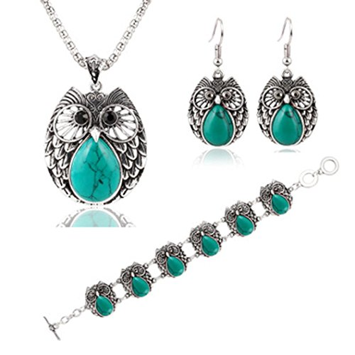 (Botrong Turquoise Owl Pendant Tibet Silver Earrings Bracelet Necklace Jewelry Set Gifts (Green))