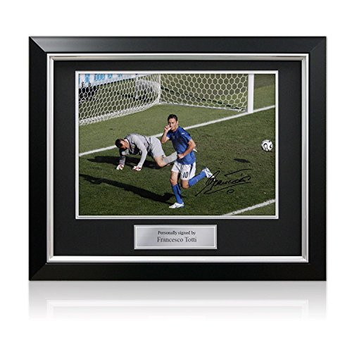 Francesco Totti Signed Italy Photo: World Cup Goal In Deluxe Black Frame With Silver (2006 Italy World Cup)