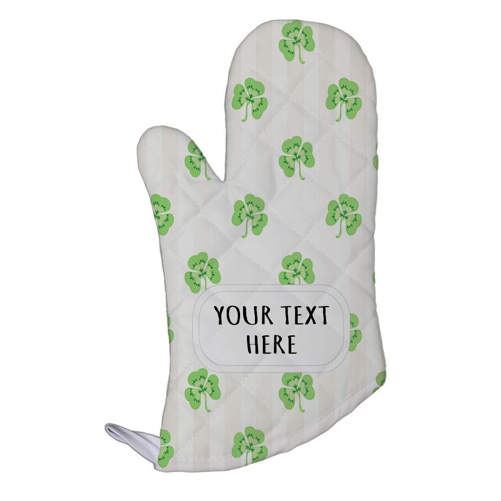 Style In Print Polyester Oven Mitt Custom Green Four Leaf Shamrock Clover Irish Ireland St Patricks Patty Celtic Kitchen Mittens