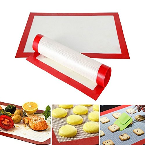 (yanQxIzbiu Silicone Baking Liner Mat Non-Stick Heat Resistant Kitchen Bakeware Oven Sheet - White+Red)