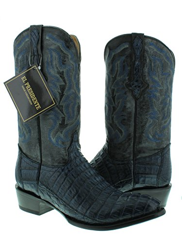 El Presidente - Men's Denim Blue Genuine Crocodile Tail Skin Cowboy Boots Round Toe 14 EE