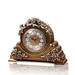 LANNA SHOP- Retro Mantel / Mantle Rhythm Quartz Clock living room desk shelf clocks Decoration ( Color : Bronze )
