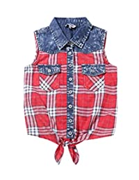 Bienzoe Girl's Plaid Denim Sleeveless Tie Front Blouse Casual Tank Tops