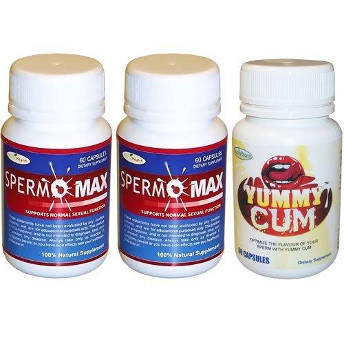 Spermomax Party Pack - 2 Bouteilles sperme Spermomax Volumizer + 1 bouteille délicieux sperme sperme exhausteur de goût