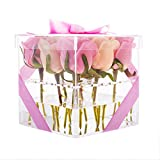 Choice Fun Clear Acrylic Flower Box Crystal Gift Box Handmade Flower Pot Square Gift Box with lid Rose Carnation Vase Planter,Transparent QFJJSN-NCF-001-2