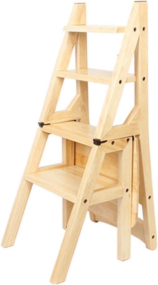 Escalera Plegable de 4 peldaños, Escalera para taburetes, Escalera Taburete Silla de Comedor de Madera Escaleras de Tijera para Adultos Niños, Herramienta de huerto doméstico Máx. 150kg en Natural: Amazon.es: Hogar