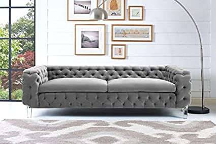 Tov Furniture The Celine Collection Modern Style Velvet Upholstered Button  Tufted Living Room Salon Sofa,