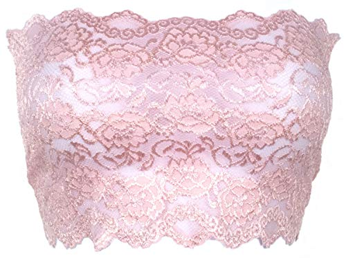 Ally Rose Topper Stretch Lace Camisole Bandeau Tube Top 8 Inches Long Baby Pink S
