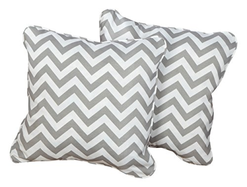 Mozaic Company Indoor/ Outdoor 16-inch Corded Pillow, Grey Chevron, Set of 2 - Color: Chevron Grey Materials: Polyester fabric, filled with 100% recycled polyester fiber Weather, mildew, fade and stain resistant with UV protection - patio, outdoor-throw-pillows, outdoor-decor - 51aD4LrF3NL -