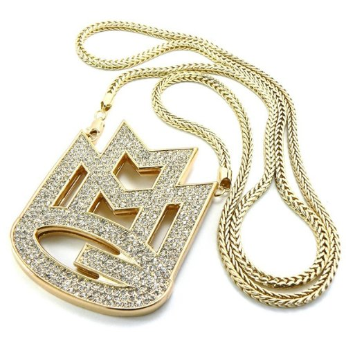 Hip hop jewelry amazon galham new iced out gold rick ross maybach music group mmg pendent 36 3mm franco chain necklace mozeypictures Images