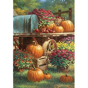 Toland Home Garden 119419 Farm Pumpkin 12.5 x 18 Inch Decorative, Rustic Fall Autumn Harvest Flower, Garden Flag