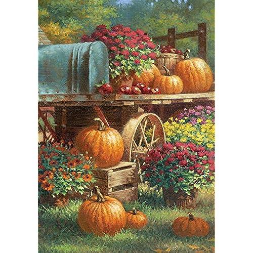 toland home garden farm pumpkin 28 x 40 inch decorative rustic fall autumn harvest flower house flag - Large Garden Flags