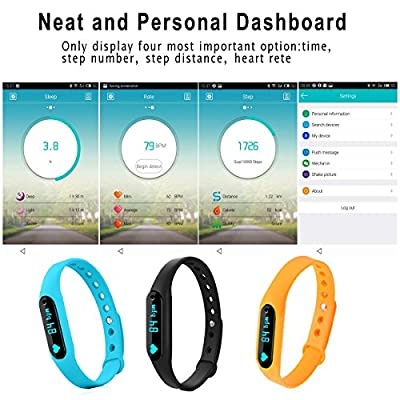 Lepfun Moxie Bluetooth 4.0 Sports Fitness Monitor Bracelet with Waterproof Sleep Monitor OLED Compatible with Android and Apple for Boys, Girls,Kids,Men and Women (Blue)