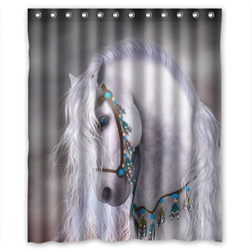 "Artistic white horse unique Shower Curtain Measure 60""(w)x72""(h)"