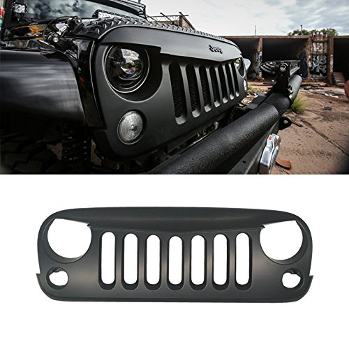 - VioGi 1pc Matte Black Strong ABS Plastic Angry Bird Style Front Main Upper Grille Fit 07-15 Jeep Wrangler JK All Models