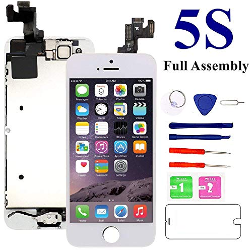 (Screen Replacement for iPhone 5S, White - MAFIX Full Pre-Assembly LCD Display Digitizer Repair Kits with Ear Speaker, Front Camera and Sensors, Repair ToolsScreen Protector)