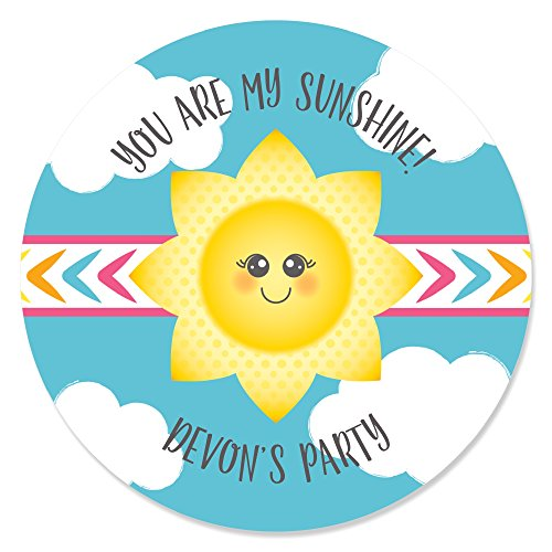 Custom You Are My Sunshine - Personalized Baby Shower or Birthday Party Circle Sticker Labels - 24 - Cara Sun
