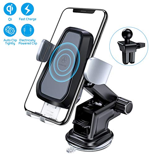 - VANMASS Wireless Car Charger, Auto-Clamp Qi Car Mount, 10W/7.5W Fast Charging & Standard 5W Charger, Windshield Dashboard Air Vent Phone Holder Compatible with iPhone X/8/8 Plus, Samsung S9 S8, Note 9