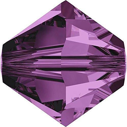 Amethyst Swarovski Crystal Bicone Bead (5328 Swarovski Crystal Bicone Beads Amethyst | 4mm - Pack of 50 | Small & Wholesale Packs | Free Delivery)