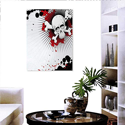 Warm Family Halloween Artwork Wall Decor Skull Crossed Bones Over Grunge Background Evil Scary Horror Graphic Modern Canvas Painting Wall Art 32
