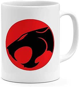 كوب قهوة مطبوع عليه شعار Thunder cat سعة 325.3 مل أسود داكن أحمر من السيراميك
