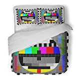 SanChic Duvet Cover Set Tv Test with Rainbow Multi Color Bars and Geometric Signals Technological Retro Hardware From the 1980S Decorative Bedding Set with 2 Pillow Shams King Size