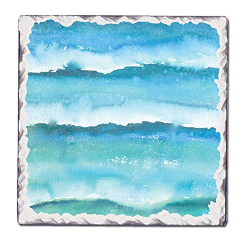 CounterArt Single Tumbled Tile Coaster, Teal Pattern 1