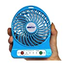 Innobay 4-inch Mini Hand Held Portable USB Fan Powered by Premium 2600mAh 18650 Lithium Rechargeable Battery, 4 blades, 3 Switches for Wind Speeds Control, 1 Led Lamp on Side, Charged by Micro USB Cable via USB Port of Notebook/ Computer/ Car Charger/ Power Bank/ 5V DC USB Wall Charger (not included), Personal Fan for Indoor and Outdoor Activities as Camping, Hiking, Backpacking, Biking, Paddling, Boating, Fishing and More (Blue)