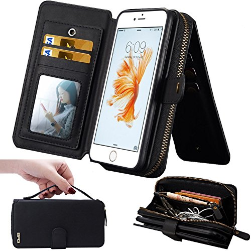 iPhone 7 Case,iPhone 7 Wallet Case,WOOZU 12 Card Slots [Wallet Case] Premium PU Leather Purse Case Detachable Magnetic Removable Case Purse Clutch with Makeup Mirror for iPhone 7 Normal Size 4.7inch