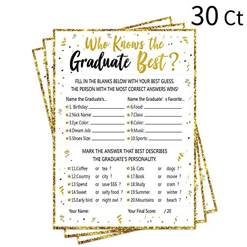 30Ct Who Knows Graduate Best Graduation Game Cards 2019 - Grad Party Supplies Decorations