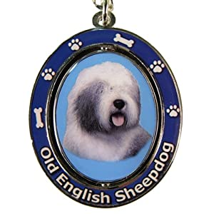 """Old English Sheepdog Key Chain """"Spinning Pet Key Chains""""Double Sided Spinning Center With Old English Sheepdogs Face Made Of Heavy Quality Metal Unique Stylish Old English Sheepdog Gifts 46"""
