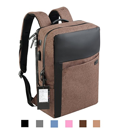 YUANYE Business Water Repellent Nylon Laptop Backpack with USB Charging Port and Lock Fits 15.6 Inch Laptop(COFFEE)