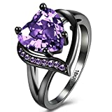 Jewelry Created Love Heart Amethyst Tungsten Stainless Steel Black Gold Plated Christmas Engagement Wedding Best Friend Rings for Womens Size 6-8