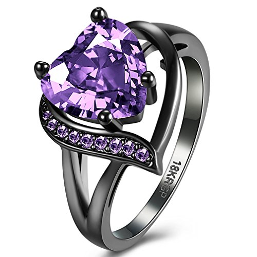 Over Stainless Steel Diamond Ring - Jewelry Created Love Heart Amethyst Tungsten Stainless Steel Black Gold Plated Christmas Engagement Wedding Best Friend Rings for Womens Size 6