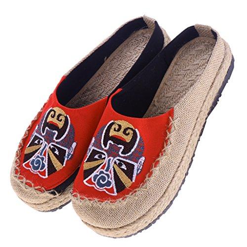 Pantoufles Opéra Rouge Broderie Peking Voyage Magideal On D'été Chaussures Slip 4wqtT