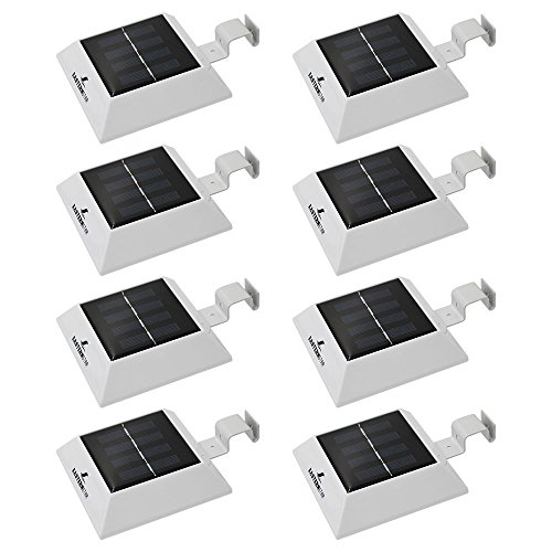 Outdoor Bracket 4 Light (Easternstar Solar Powered Waterproof Security Lamp,4 LED Solar Gutter Lights for Outdoor Garden Fence Dog House Tree Outside Garage Door Wall Stairs Anywhere Safety Lite with Bracket (8 PCS))