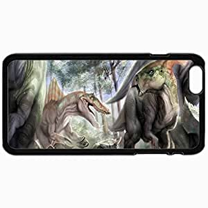Customized Cellphone Case Back Cover For iPhone 6, Protective Hardshell Case Personalized Dinosaur Black