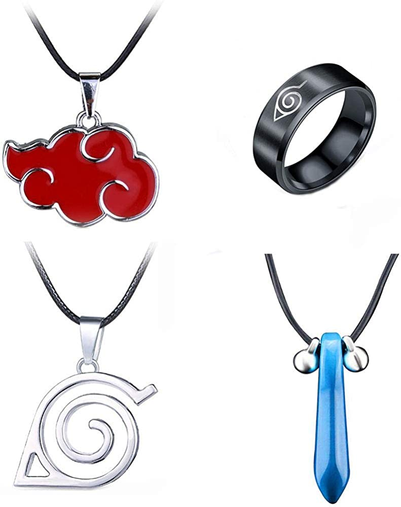 Imcneal 4Pack Cartoon Naruto Akatsuki Necklaces Itachi Uchiha Metal Cosplay Necklaces Pendant Ring