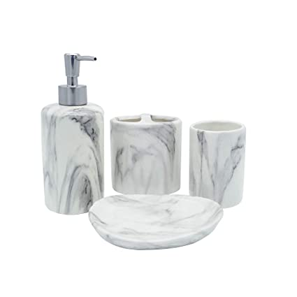 2a4301eb71e3 COOSA Ceramic Bathroom Accessories Set, 4 Pieces Bath Ensemble, Bath Set  Collection Marble Pattern