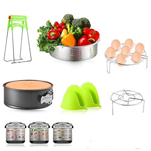 iduola 10 Pieces Instant Pot Accessories Set Fits 5,6,8 Qt - Steamer Baskets, Springform Pan, Steaming Trivet Rack, Egg Steamer Rack, Dish Plate Clip, Oven Mitts, Magnetic Cheat Sheets