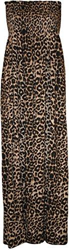 WearAll Tailles Lopard taille maxi Femmes imprim Robes fronc 44 robe bandeau Grande 50 rxqrTw4pz