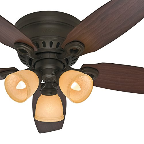 Hunter Fan 46 inch New Bronze Ceiling Fan with Amber Scavo Glass Light Kit (Renewed) ... (New -