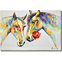 Crescent Art Horse Flower Wall Art Animal Oil Painting on Canvas Print Wall Decor for Livingroom (36 x 24 inch, Horse Unframed)