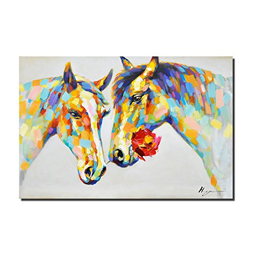 Crescent Art Horse Flower Wall Art Animal Oil Painting on Canvas Print Wall Decor for Livingroom (48 x 32 inch, Horse Unframed)