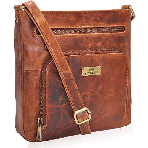 Genuine Leather Front Pocket Zipper Crossbody Handbag for Women - Handmade by LEVOGUE (Cognac Vintage) ()