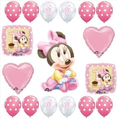 MINNIE MOUSE 1st #1 Pink Polka Dots BIRTHDAY Girl PARTY (17) Balloon Kit (Baby Minnie Mouse 1st Birthday)