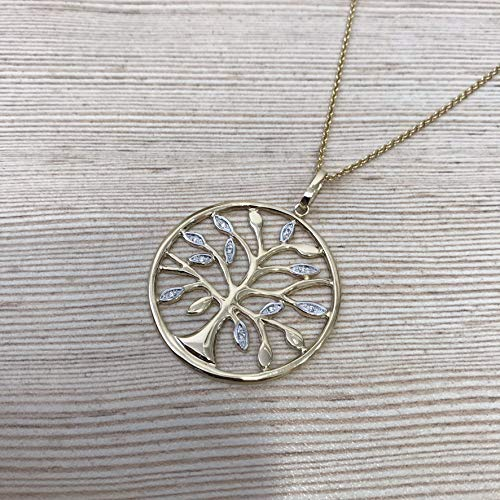 Unique Artisan Tree of Life solid 9k gold circle necklace with (9k Gold Diamond Pendant)