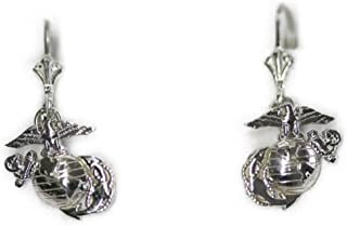 product image for Continuum Sterling Silver 3/4 by 3/4 Inch USMC Earrings on Lever Back Hooks