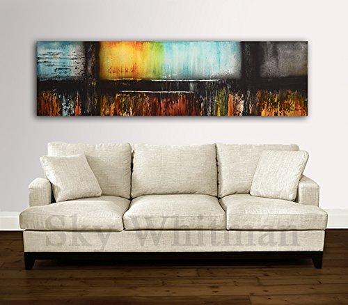 20-x-72-extra-large-painting-original-modern-6-foot-abstract-art-panoramic-gray-amber-taupe-handmade
