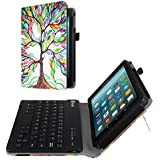 Fintie Folio Keyboard Case for All-New Amazon Fire 7 (7th Generation, 2017 Release), Slim Fit PU Leather Stand Cover with All-ABS Hard Material Removable Wireless Bluetooth Keyboard, Love Tree